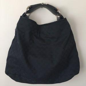 Gucci Black Horsebit Hobo Bag